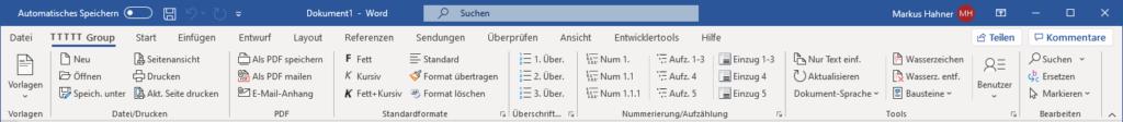 Team Hahner - Word Solutions - Menueband Deutsch